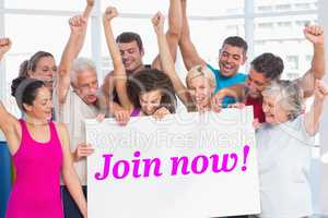 Join now! against modern white and pink room with window