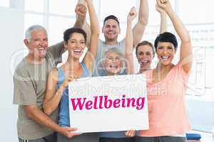 Wellbeing against grey wall