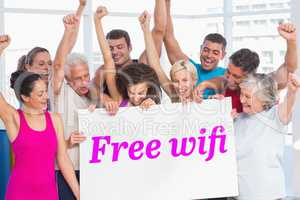 Free wifi against grey wall