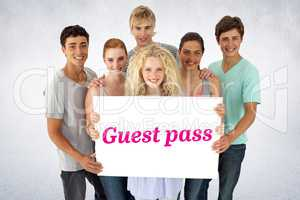 Guest pass against white wall