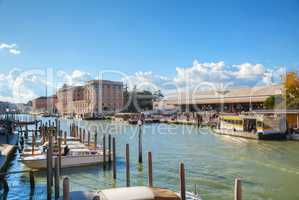 Overview of Grand Canal and train station in Venice