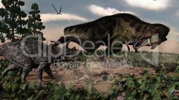 Tyrannosaurus rex roaring at a triceratops - 3D render