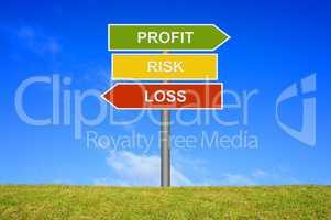 Schild Wegweiser zeigt Profit Risk Loss