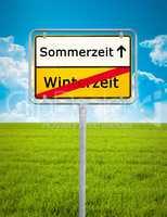 Daylight Saving german city sign