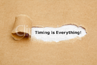 Timing is Everything Torn Paper Concept