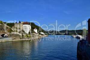 Zusammenfluss von Donau und Inn in Passau