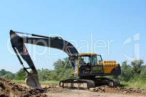 construction site with excavator