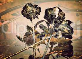 The shiny metal forged roses, handmade