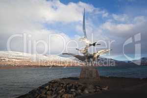 Sculpture at the harbour of Akureyri, Iceland