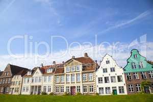Fassaden am Hafen von Glückstadt, Schleswig-Holstein, Deutschla