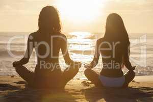 Women Girls Sitting Sunrise Sunset Bikini Beach