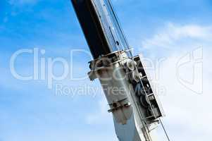 Heavy industrial pulley and cable assembly on crane