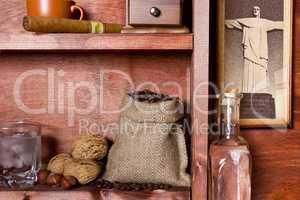 Shelf with Brazilian coffee