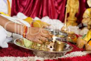Traditional Indian religious praying ceremony
