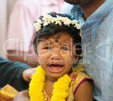 Indian baby girl crying