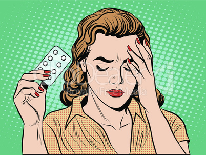 Woman with headache pills