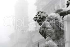 Fountain of Neptune in the fog