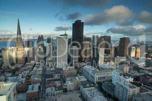 Aerial Views of San Francisco Financial District from Nob Hill, Sunset