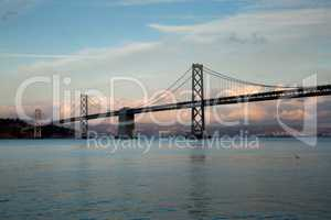 Bay Bridge from Pier 14, San Francisco, Sunset