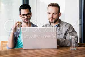 Focused gay couple using laptop