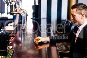 Man having an alcohol shot