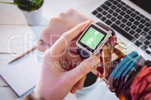 Composite image of hand using smart watch