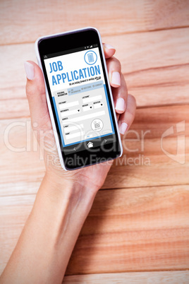 Composite image of telephone job application app