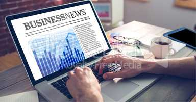 Composite image of business newspaper