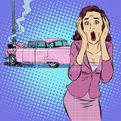 Female driver car accident