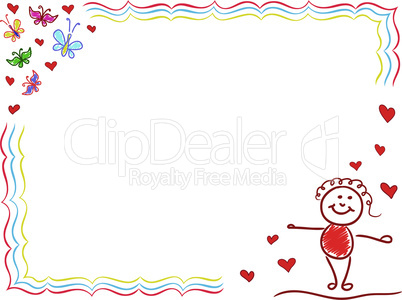 Valentine Greeting Card with Joyful Girl