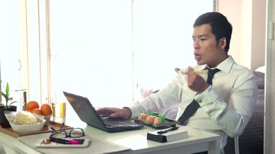 Hungry Busy Manager Businessman Business Man Eating Food Sushi Working
