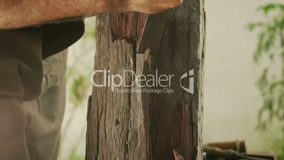 4-Sculptor Tools Hammer Chisel And Wooden Block On Table