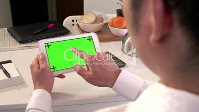 Internet Green Screen Monitor Business Man Businessman Ipad Tablet Technology