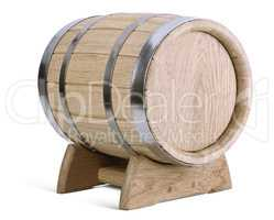 oak wooden barrel on stands