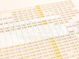 Timetable vintage
