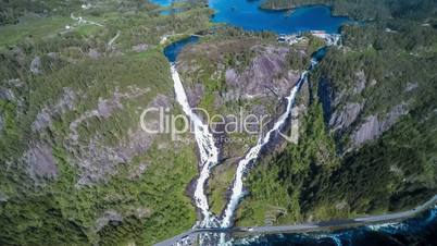 Aerial footage Latefossen Waterfall Odda Norway. Latefoss is a powerful, twin waterfall. View from the bird's-eye view.