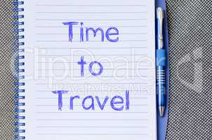 Time to travel write on notebook