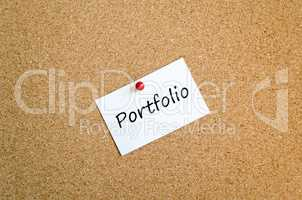 Portfolio sticky note text concept