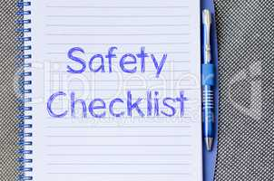 Safety checklist write on notebook