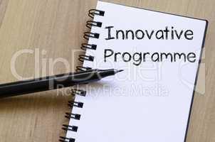 Innovative programme write on notebook