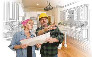 Contractor Talking with Customer Over Kitchen Drawing and Photo