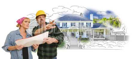Contractor Talking with Customer Over Home Drawing and Photo