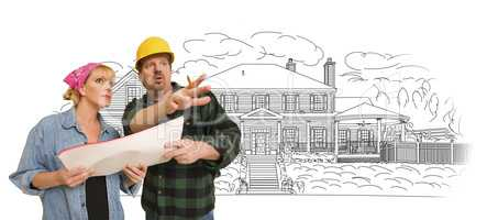Contractor Talking with Customer Over Home Drawing