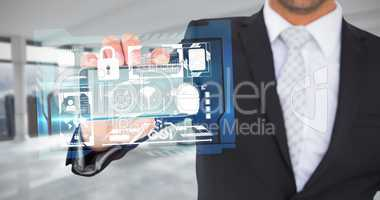 Composite image of businessman showing his smartphone screen