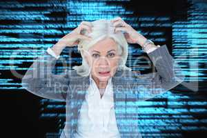 Composite image of portrait of stressed businesswoman with hands