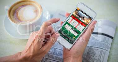 Composite image of gambling app screen