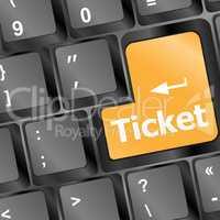 Buy tickets computer key vector illustration