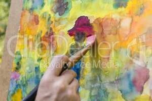 Malen mit Aquarellfarben, painting with water colors