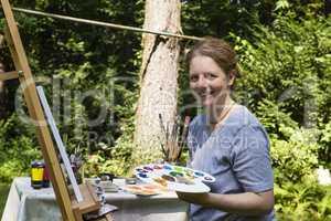 Frau beim Malen, woman is painting