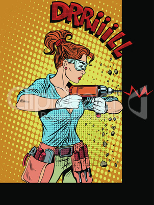 Woman drilling wall drill